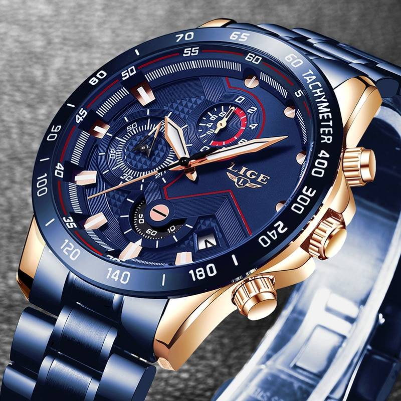 Amournova.com - Affordable Quality, Fun Shopping, Free Shipping LIGE 2020 New Fashion Mens Watches with Stainless Steel Top Brand Luxury Sports Chronograph Quartz Watch Men Relogio Masculino Men's Watches