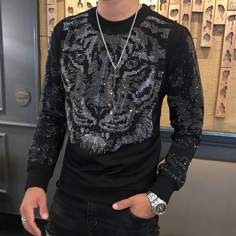 Amournova.com - Affordable Quality, Fun Shopping, Free Shipping Autumn Winter New Fashion Brand Men's Tee Shirt Homme Personalized Trend Hot Drilling Tiger Head Men's Heavy Industry Tshirt Men T-Shirts