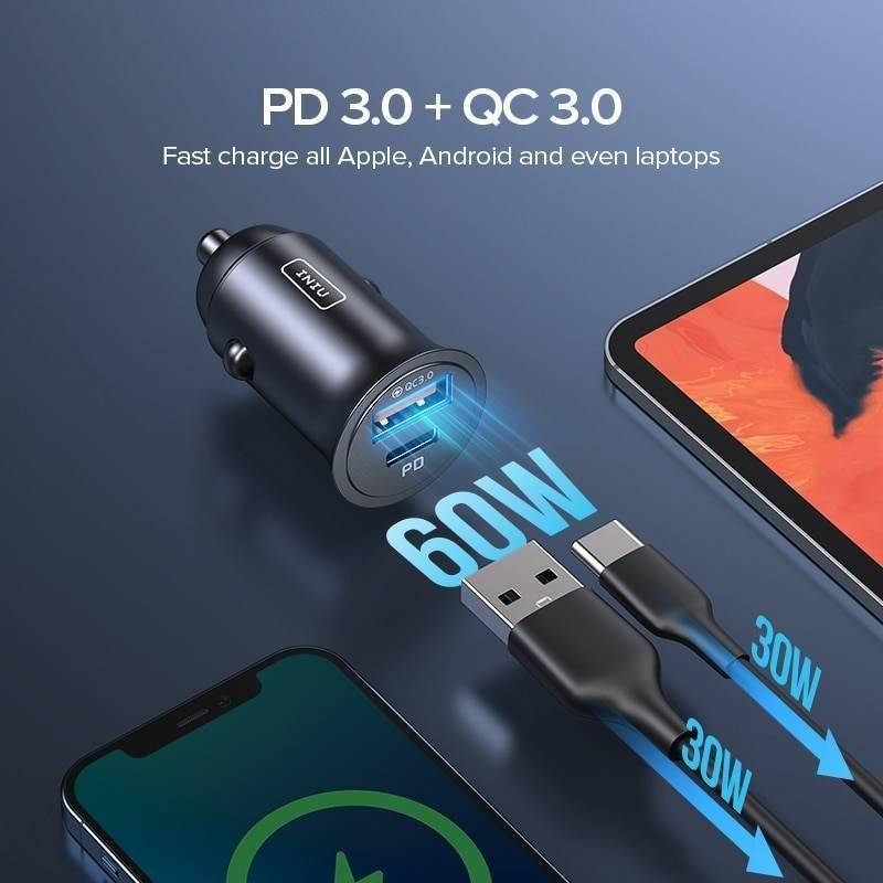 INIU 60W 5A USB Car Charger Quick Charge QC PD 3.0 Fast Charging Type C Adapter For iPhone 12 Pro Max Sumsung S20 Xiaomi Huawei Car Chargers Mobile Phone Accessories Smartphones